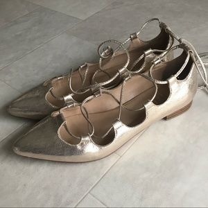 Billy Ella Anthropologie Gold Lace Up Flats Sz 8